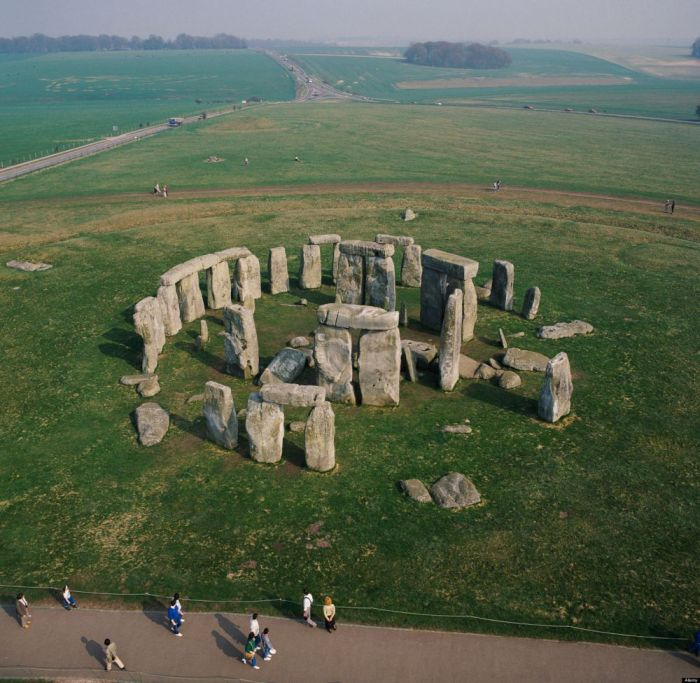 Stonehenge World Heritage site Salisbury Plain Wiltshire UK aerial view