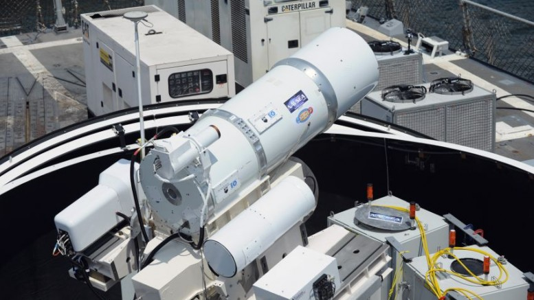 Laser Weapon System (LaWS) temporarily installed aboard the guided-missile destroyer USS Dewey