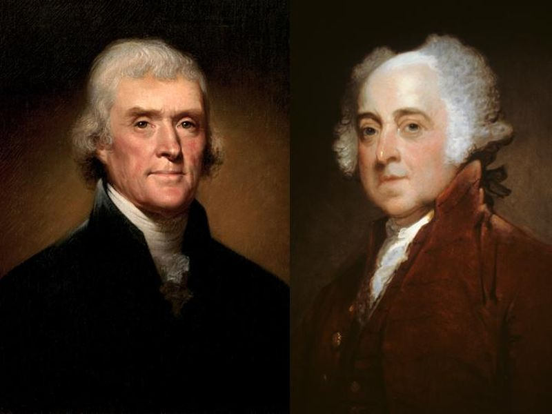 john adams and thomas jefferson Thomas jefferson and john adams shaped the history of this country and changed the world these men's similarities and differences led them on intertwining paths to destiny thomas jefferson and john adams were born in the first half of the 1700s to fathers who were farmers jefferson's father was a.