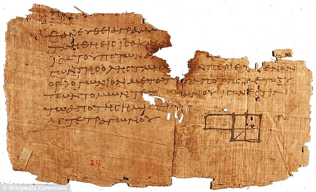 A papyrus featuring Euclid's Elements of Geometry.