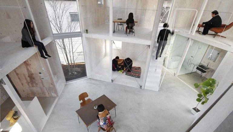 The unfinished house in japan has no doors - The house without walls ...