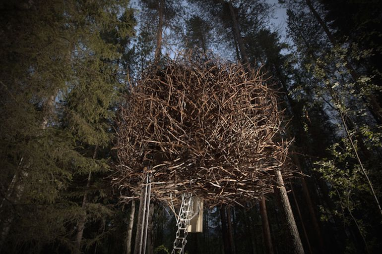 Swedish Hotel Features Bird's Nest And UFO-Shaped Cabins-8
