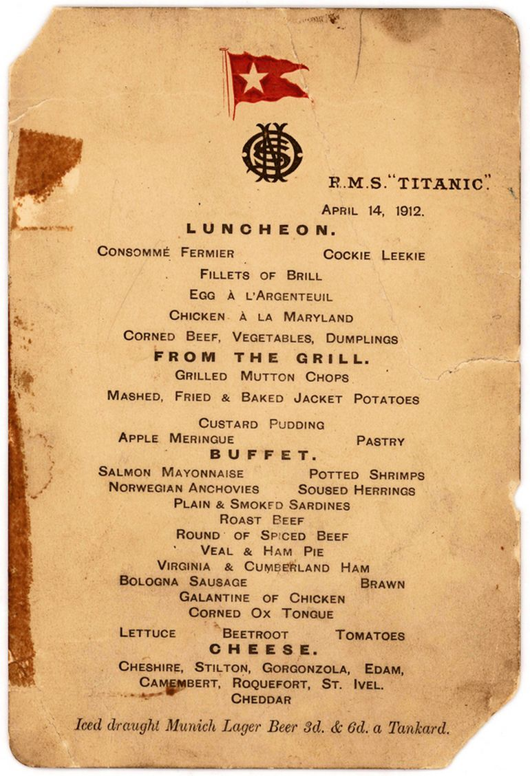 103-Year-Old Titanic Lunch Menu Sold For $88,000-1