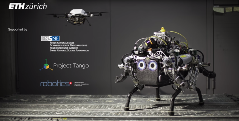 Walking Robot Relies On Drone For Navigation Suppport-1