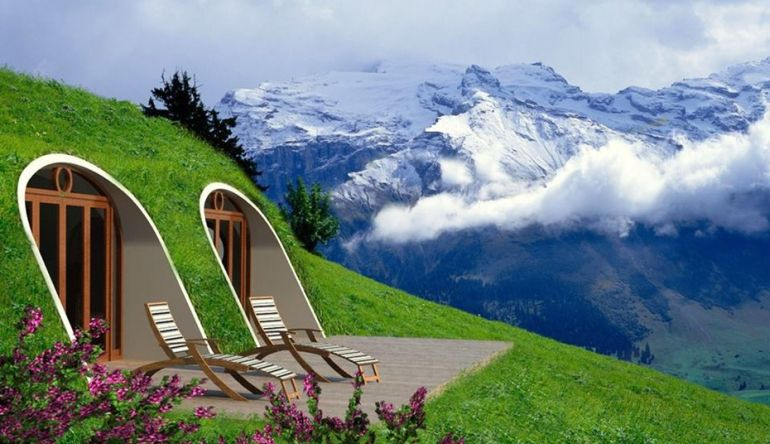green magic home a prefabricated version of hobbit home. Black Bedroom Furniture Sets. Home Design Ideas