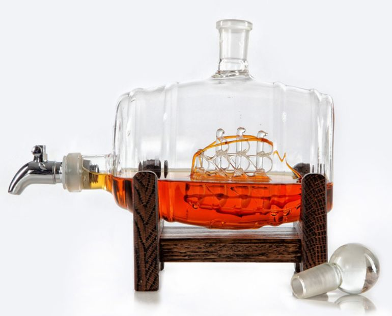 The Stunningly Vintage Glass Ship In A Whiskey Barrel Keg Decanter-1