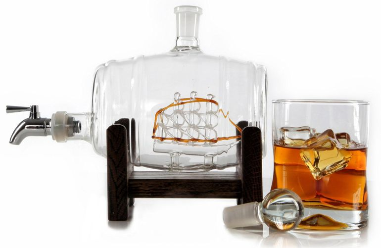 The Stunningly Vintage Glass Ship In A Whiskey Barrel Keg Decanter-3