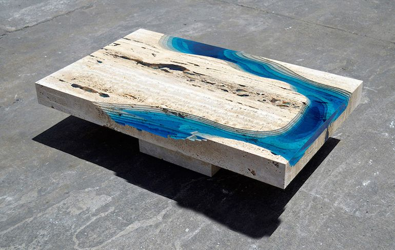 Lagoon Coffee Table Mimics The Vibrant Blue Of Ocean - Topographic coffee table