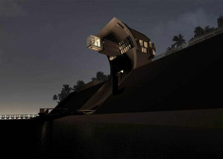 Mo Ventus House Features Moving Walls Covering A Cantilevered Office-7