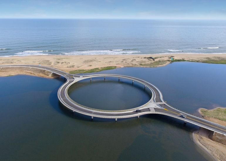 Uruguay's Laguna Garzon Bridge Boasts A Unique Ring-Shaped Design-2