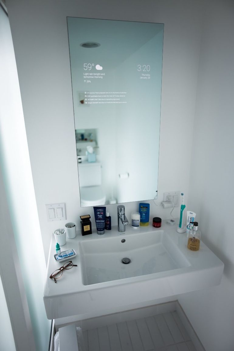 DIYer Transforms Bathroom Mirror Into Futuristic Information Screen-1