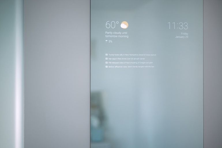 DIYer Transforms Bathroom Mirror Into Futuristic Information Screen-3