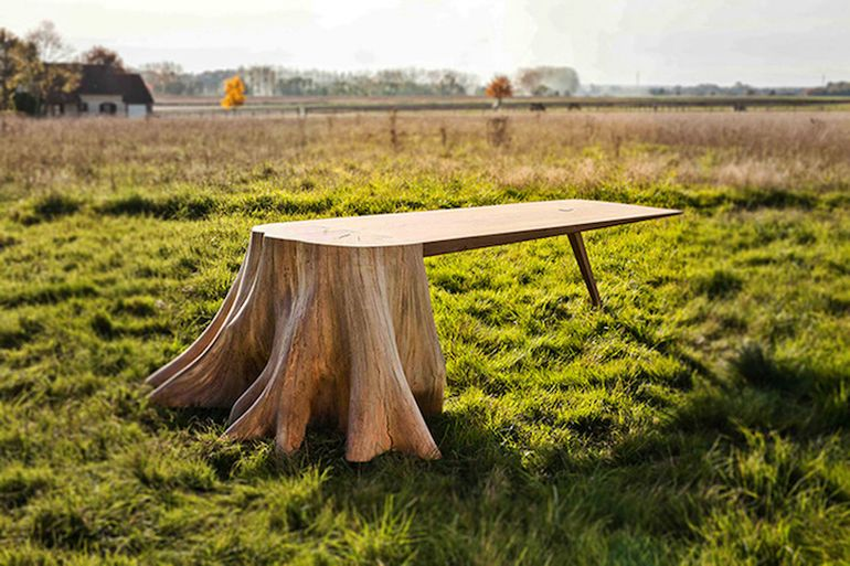 French Artist Designs Stunning Table With Giant Tree Stump For Leg-1