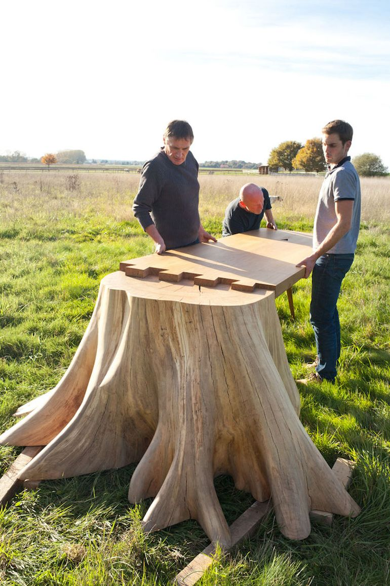 French Artist Designs Stunning Table With Giant Tree Stump For Leg-2