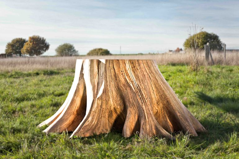 French Artist Designs Stunning Table With Giant Tree Stump For Leg-3