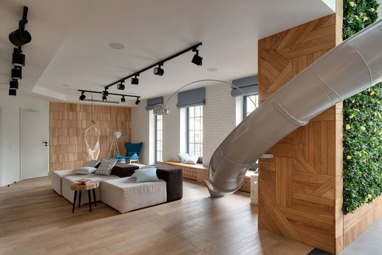 Fun-Loving Home Owners Install Slide In The Middle Of The Living Room-2