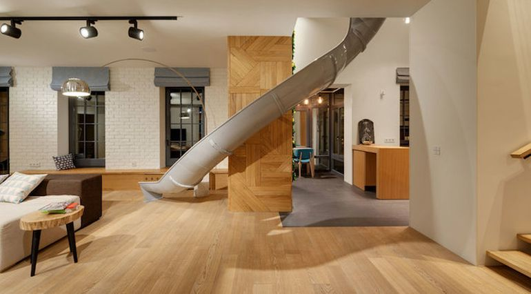 Fun-Loving Home Owners Install Slide In The Middle Of The Living Room-3