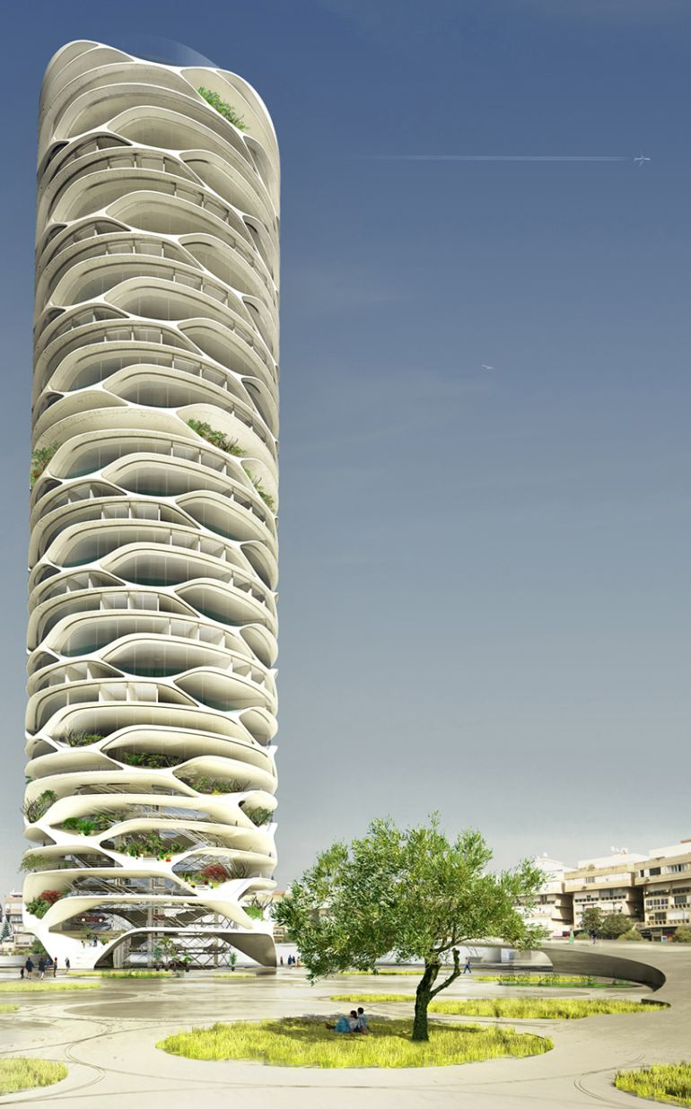 Architect Envisions Spectacular Cellular Skyscraper For Tel Aviv-2