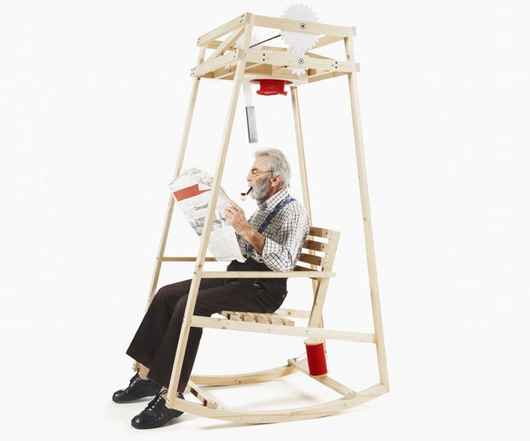 Ingeniously-Designed Rocking Chair Knits A Hat As You Gently Sway-1