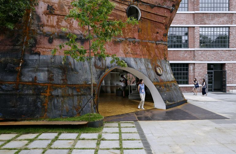 South Korean architects transform defunct, rusty ship into stunning tree-filled pavilion-5