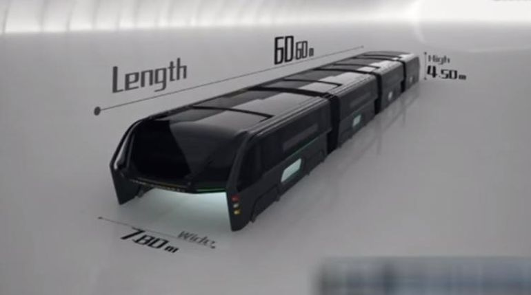 China Unveils Full-Sized Prototype Of Bizarre Traffic-Straddling Bus-2