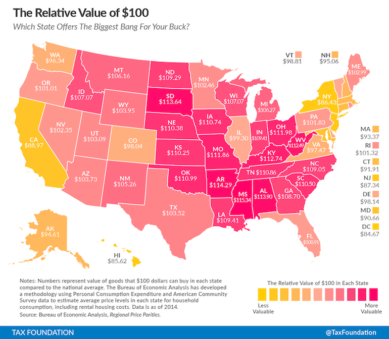 Infographic Shows The Real Worth Of $100 Across The 50 States-2