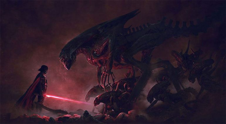 Stunning Artwork Depicts Epic Battle Scenes Of Stromtroopers VS. Aleins-1