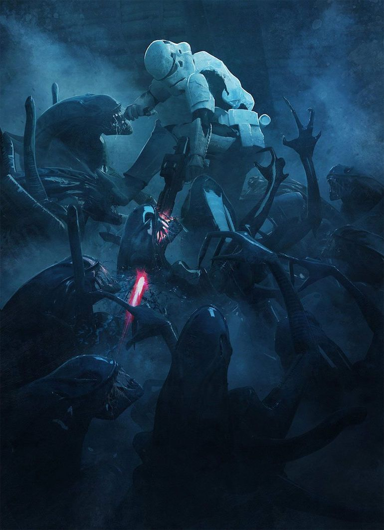 Stunning Artwork Depicts Epic Battle Scenes Of Stromtroopers VS. Aleins-13