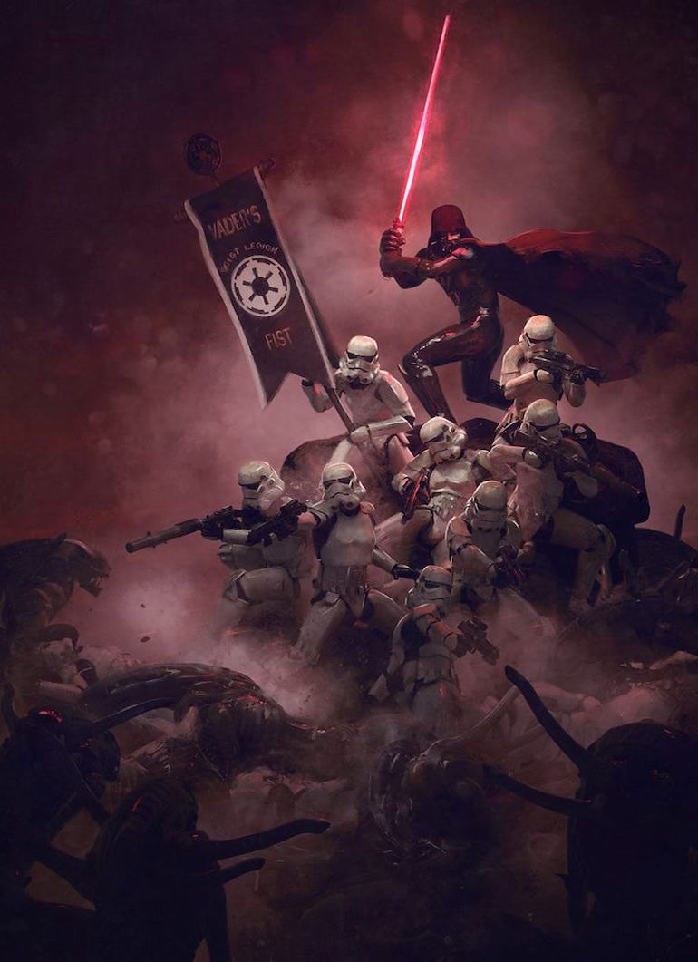 Stunning Artwork Depicts Epic Battle Scenes Of Stromtroopers VS. Aleins-2