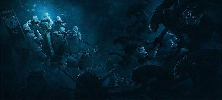 Stunning Artwork Depicts Epic Battle Scenes Of Stromtroopers VS. Aleins-5