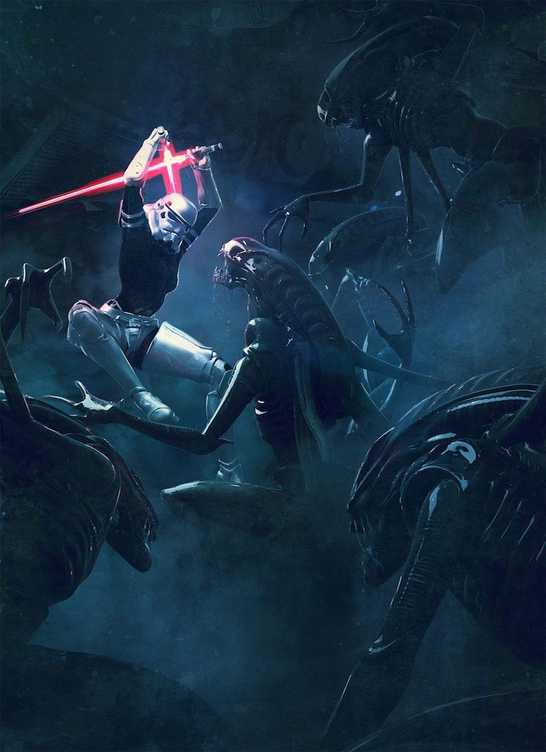 Stunning Artwork Depicts Epic Battle Scenes Of Stromtroopers VS. Aleins-7