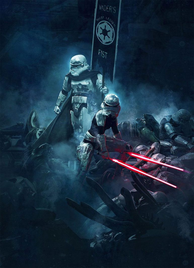 Stunning Artwork Depicts Epic Battle Scenes Of Stromtroopers VS. Aleins-9