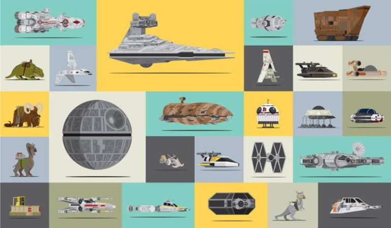 star wars poster shows all the vehicles used in the original trilogy