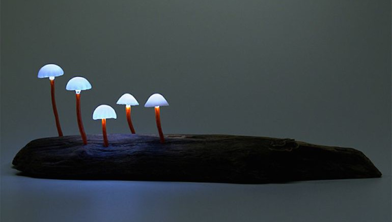 Artist Designs Tiny LED Lamps That Look Like Bioluminescent Mushrooms-1