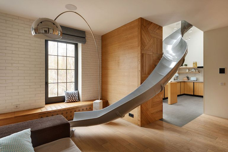 Fun-Loving Home Owners Install A Slide In The Middle Of The Living Room-1