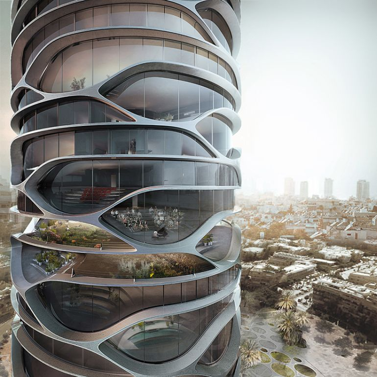 Architect Envisions Spectacular Cellular Skyscraper For Tel Aviv-1